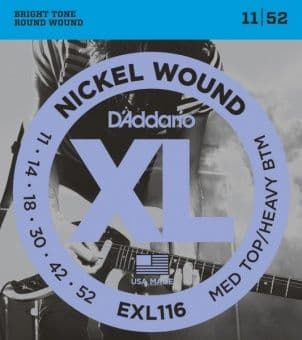 Струны для электрогитары 11-52 D'Addario EXL116 Nickel Wound MED TOP/HEAVY BTM