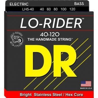 Струны для бас-гитары 40-120 DR LH5-40 Lo-Rider Stainless Steel / Hex Core 5-String