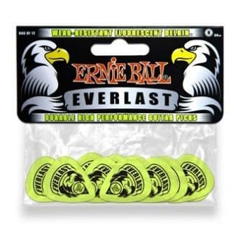 Наборы медиаторов 0.88 mm Ernie Ball P09191 Everlast Wear-Resistant Fluorescent Delrin Guitar Picks Green 12 pcs